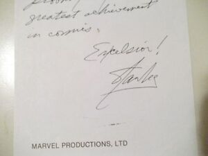 Stan Lee in his own words and on his own Marvel stationery signe Cornwall Ontario image 3