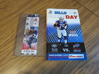 Lot of 2-Eric Wood-Buffalo Bills vs NY Jets Gameday Program&Ticket Stub 11/17/13