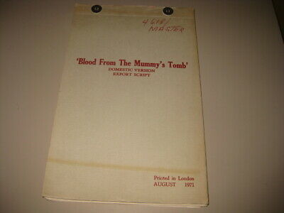 Vintage HAMMER FILMS Original Continuity Script BLOOD FROM THE MUMMY'S TOMB
