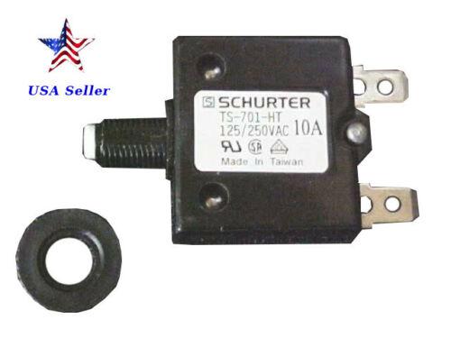 Schurter TS-701-HT-10, 125/250VAC, 10A, thermal curcuit breaker