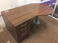 Office Furniture Set Up - 3 x Desks with Drawers, 4 x Chairs, 1 x Small Table & 1 x Filing Cabinet
