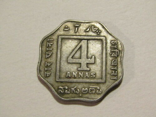 India-British 1921-B 4 Annas Coin