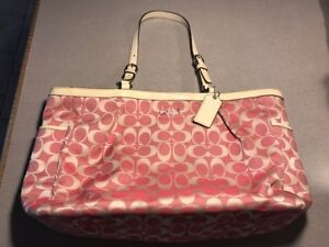 PINK AND WHITE LOGO COACH PURSE TOTE AUTHENTIC