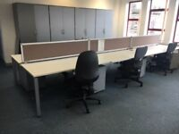 office furniture 1.6 white bench desking in pods of 4,6