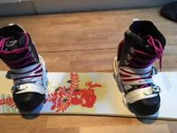 Woman's snowboard, bindings, boots size 6 + travel bag