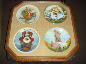 NORMAN ROCKWELL & RECO - 4 Box framed Collectors Plate's 1980's
