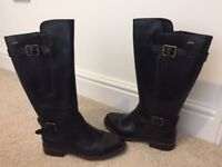 Clarks Leather Knee High Boots - Black Size 6 BIGGLESWADE