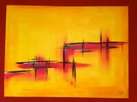CONTEMPORARY LARGE CANVAS ART 2 OIL PAINTING BRIGITTE COLOGNY
