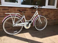 "Ladies small Viking bike. White with pink mudguards. 14"" frame, 24"" alloy wheels. Rear pannier"