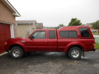 2007 FORD RANGER SPORT PICKUP TRUCK WITH MATCHING LEER CAP