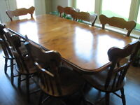 Maple Dining Table, 8 Chairs and Hutch Stratford