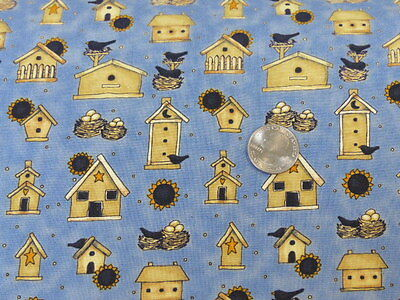 Debbie Mumm Bird - Debbie Mumm Fabric Bird Houses Bird Nests Sunflowers South Sea Imports BTY