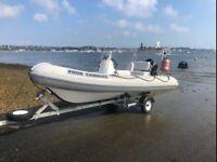 4.7m Aqua Pro RIB - Super Condition Ridged Inflatable Boat with Suzuki 50hp 4stroke outboard.