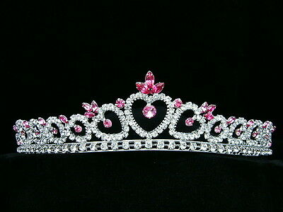 Pink Crowns (Bridal Pink Rhinestones Crystal Heart Prom Wedding Crown Tiara)