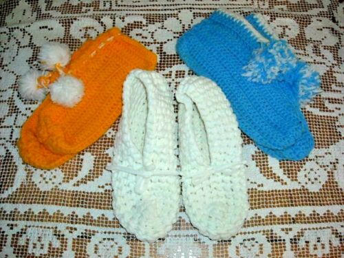 3 Pair of Adult Size Hand Made Knitted/Crocheted Slippers Booties Pom Pom White