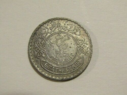 Syria 1929 25 Piastres Silver Coin