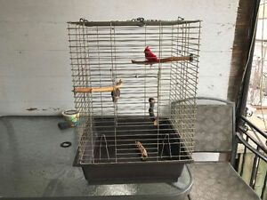 LARGE VERY WELL MADE TABLE TOP BIRD CAGE WITH 4 PERCHES