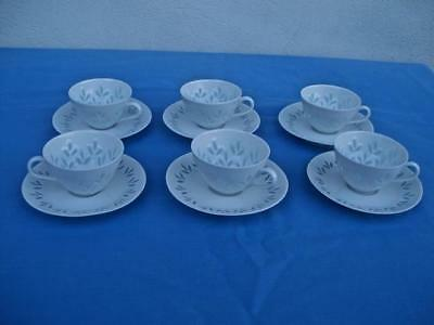 ARABIA FINLAND 6 CUP & SAUCER SETS *TRANSLUCENT RICE* FHK FREIDL HOLZER UNUSED