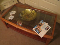 Cool retro vintage solid wood coffee table, glass top & magazine storage shelf below, shabby chic