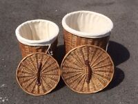 Pair of cotton lined wicker laundry baskets