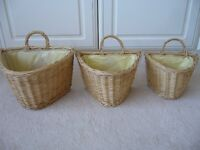 3 wicker graduated baskets for pot plants / flowers storage - Southbourne
