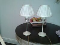 LAMPS A PAIR OG CREAM SHABBY CHIC LAMPS WITH PLETED SHADES WORKING PERFECT EXPENSIVE WHEN BOUGHT