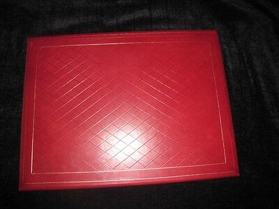 Luxury Bontruper Red Genuine Leather 24k Gold Gilded Weave Desk Blotter