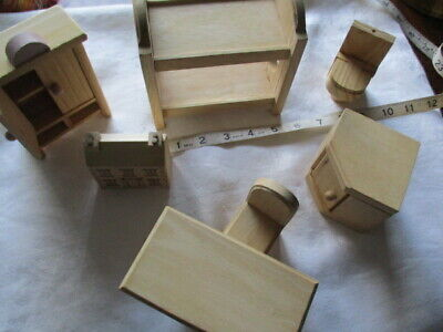 Vintage Dolls House Lot, Bunk Bed ,Cupboards, Wooden Table , chair