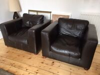 Leather Armchairs Sofa - Pair Brown Frasers Linea
