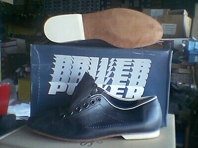 New Men's POWER bowling shoes soft black leather w/leather soles and rubber -