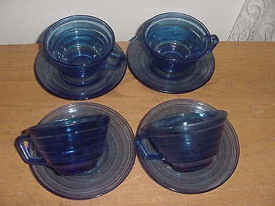 Set of 4 Hazel Atlas Moderntone Cobalt Blue Cups and Saucers