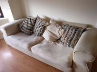 Big Cream 3 Seater fabric Sofa