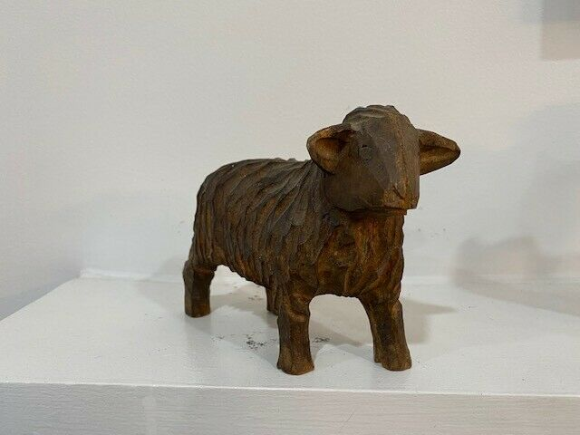 Vintage HAND CARVED wooden sheep