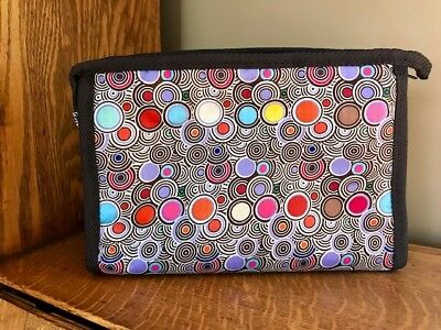 Large Brown Colorful Polka Dot Cosmetic Bag w Mirror - Braciano - 9.25 x 7 x 3