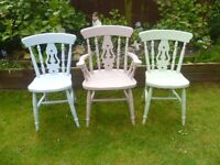 3 x Shabby Chic Wood Chairs up-cycled in lovely pastel coloured chalk paint