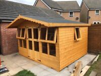 12x10 summerhouse 2ft roof overhang opening windows (2-4 weeks delivery time schedule)