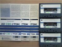 £8.50+FP&P 3x TDK AD 90 ACCOUSTIC DYNAMIC CASSETTE TAPES 1979-1981 JOB LOT OR SOLO