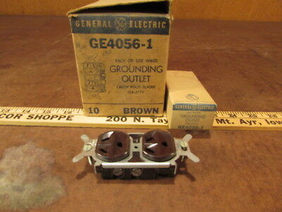 6 Vintage NOS brown Crow Foot Blade double Outlets General Electric 15A-277V