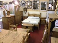 New SOLID Corona Mexican pine Beds Dressing tables Bedsides Chests of drawers Wardrobes £39-£375