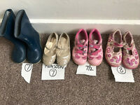4 pairs shoes (lelli Kelly 8, Clarks light up trainers 7.5, monsoon 7, wellies 7 (£2 each, all £10)