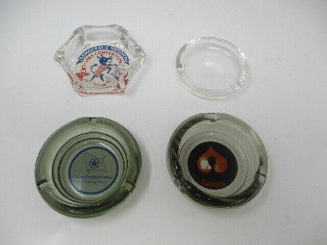 Vintage Lot Of 4 Glass Advertising Ashtrays- SAHARA, EASTERN STEAMSHIP, DEM CONV