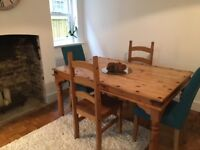 **Solid Pine dining table for sale! Chairs available!**