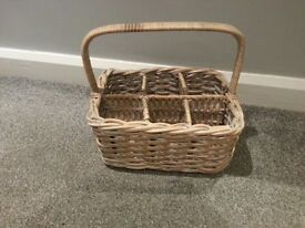 Shabby chic wicker basket and wooden decoration