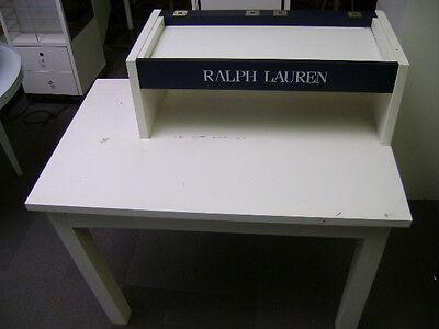 Ralph Lauren White Retail Double Tier Merchandise Display Table