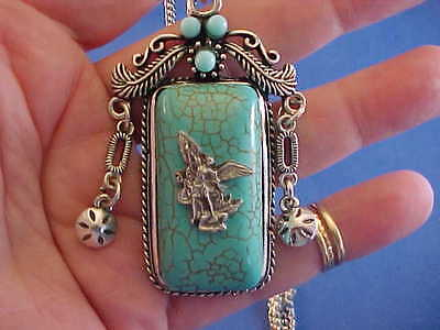 Custom Original Turquoise ARCHANGEL St MICHAEL Pendant Necklace Cowgirl Bling - Customized Medals
