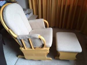 Wooden rocking chair / nursing chair with ottoman