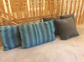 Turquoise and grey striped cushions x 2 and grey velvet cushions x 3