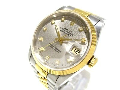 Auth ROLEX Datejust 16233G Silver 18K Yellow Gold Men