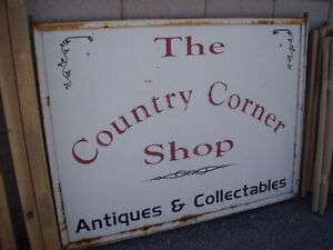 """Vintage 2 sided """"THE COUNTRY CORNER SHOP"""" metal sign !"""
