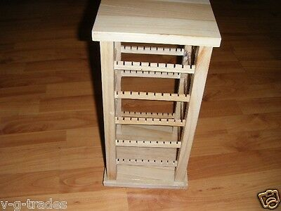 Natural Wood Rotating Earring Display For Countertop Can Hold 100 Pair Spins